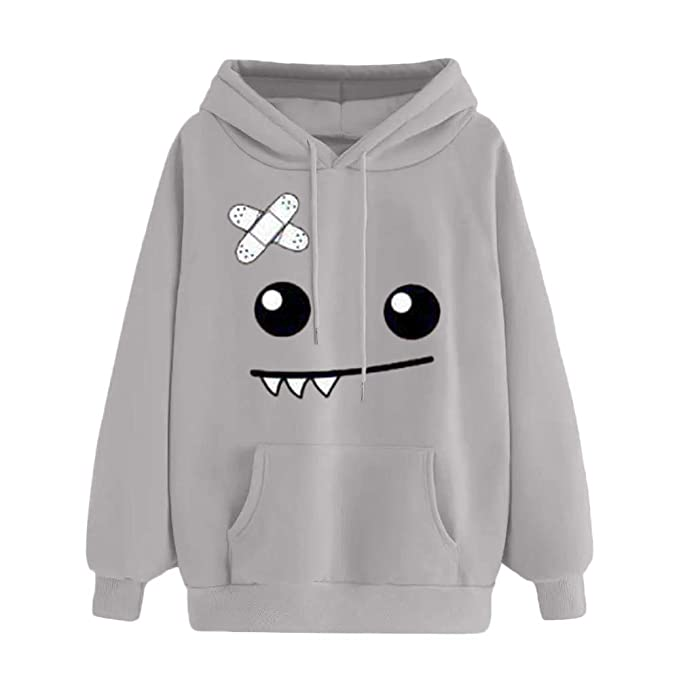 FimKaul Autumn Winter Thicker Hoodie Womens Casual Loose Cute Monster Emoticon Warm Sweatshirt Hooded Pockets at Amazon Womens Clothing store: