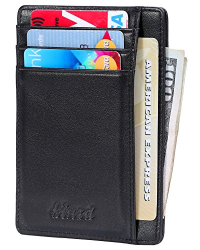 Slim Wallet RFID Front Pocket Wallet Minimalist Secure Thin Credit Card Holder (OneSize, Black)