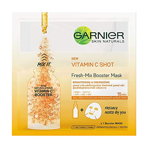 Garnier Skin Naturals, Fresh Mix Vitamin C, Face Serum Sheet Mask (Orange, 33 g)