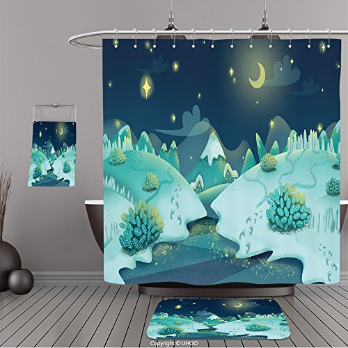 Frontgate Beige Rug (Uhoo Bathroom Suits & Shower Curtains Floor Mats And Bath Towels 358649429 Illustration Snow Night. Realistic Fantastic Cartoon Style Artwork Scene, Wallpaper, Game Story Background, Card Design For B)