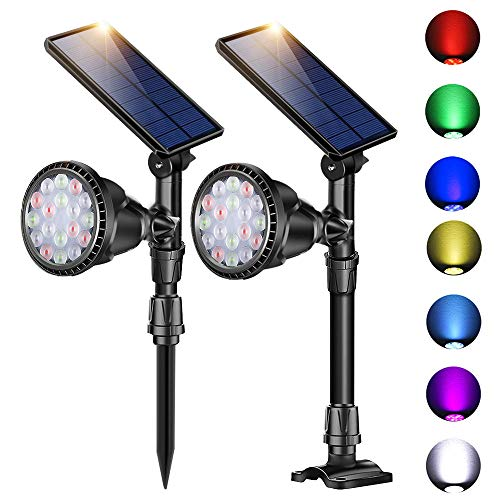 ROSHWEY Outdoor Solar Spotlights, Super Bright 18 LED Security Light Waterproof Wall Lamps for Garden Landscape Patio Porch Deck Garage (7 Colors, 2 Pack) (Review Garden Spotlights Solar)