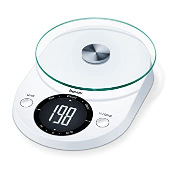 Beurer KS-33 - Balanza de cocina, pantalla LCD, color blanco: Amazon ...