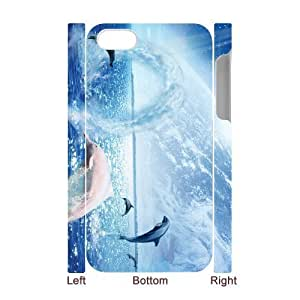Iphone 4,4S Dolphins 3D Art Print Design Phone Back Case Customized Hard Shell Protection TY065445
