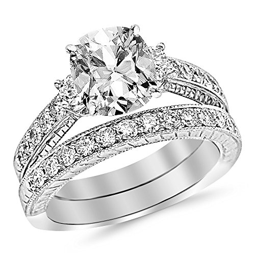 Platinum 4.43 CTW Three Stone Vintage With Milgrain & Filigree Bridal Set with Wedding Band & Diamond Engagement Ring w/ 3.4 Ct GIA Certified Cushion Cut D Color VS2 Clarity Center (3.4 Ct Round Diamond)