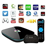 Q Box Quad Core Android 6.0[2GB/16GB] Smart TV BOX Amlogic S905+Free I86 Keyboard (1Set, Black)