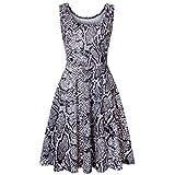 KYLEON Women's Midi Dresses Boho Leopard Print Sleeveless O-Neck A Line Waistline Casual Summer Party Flared Tank Dress Gray