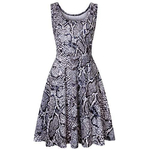 Seaintheson Women Dresses, Summer Sleeveless Floral Print A Line Waistline Midi Dress Casual Flared Party Tank Dress -
