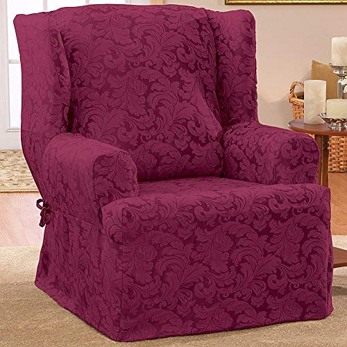 (Sure Fit Scroll - Wing Chair Slipcover  - Burgundy (SF30110))