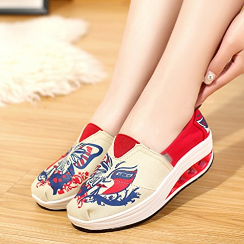 Platform 4printed Canvas Heel LINNUO Printed Walking Shoes Wedge Sneakers Trainers Running Women's Driving Flatform Loafers qZ66SW75