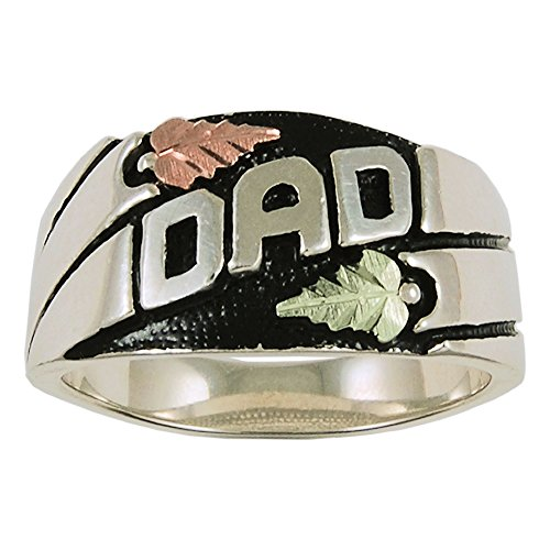 - Mens Black Hills Gold Dad Ring in Sterling Silver