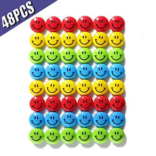 Refrigenrator Magnets/Whiteboard Magnets, Smile Magnets, Calendar Sign, Diameter 0.79 Inches, 48pcs/Tub Display-Assorted Colors