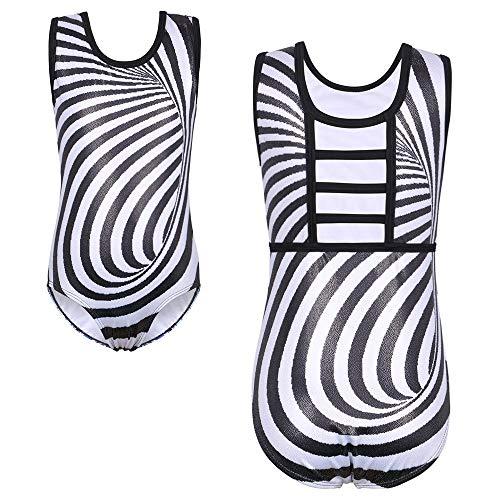 TFJH E Leotard for Girls Gymnastic Apparel Tumbling Dancewear Zebra Black Stripe 10A