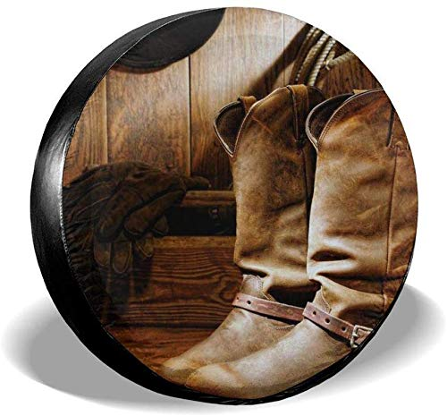 LiBei Vintage American Western Cabin Cowboy Boot Waterproof Spare Tire Cover Fits for Trailer RV SUV Truck Camper Travel Trailer Accessories 14,15,16,17 Inch