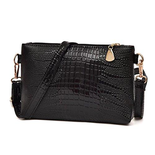 Cheap Purses (Shoulder Bag, Creazy Women Fashion Handbag Crocodile Pattern Shoulder Bag Small Tote Ladies Purse (Black))