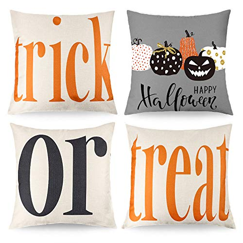 CDWERD Trick or Treat Pumpkin Halloween Throw Pillow Covers Cotton Linen Decorative Pillowcases Cushion Case for Couch Patio Set of 4, 18x18 Inch (Plain Decorative Pillow Cases)