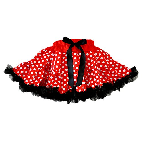 GoForDance Miki Polka Dots Red/White 2 Layers Tutu 2 w/Black Ruffle Trim (Large) ()