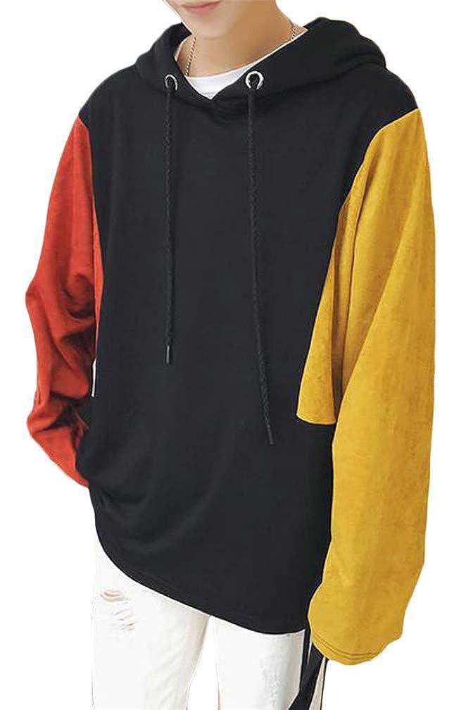 pipigo Mens Long Sleeve Autumn Contrast Color Drawstring Pullover Hooded Sweatshirts