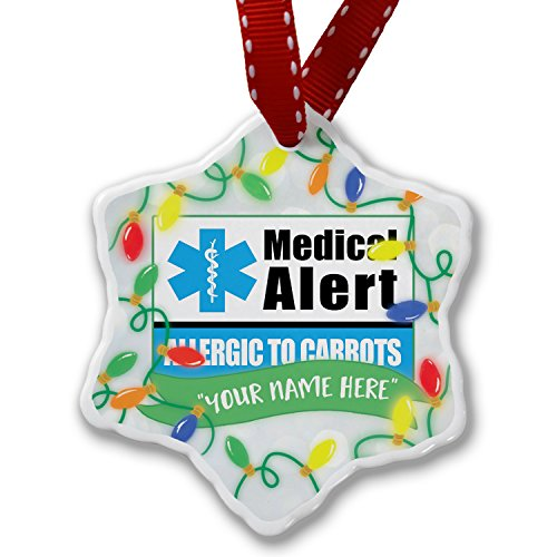 Personalized Name Christmas Ornament, Medical Alert Blue Allergic to Carrots NEONBLOND by NEONBLOND
