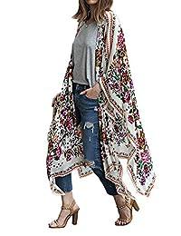 Women's Loose Cover Ups Kimono Cardigan Oversized Chiffon Blouses Sheer Tops