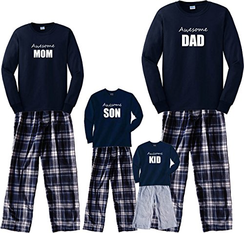 Footsteps Clothing Awesome Mom Navy Shirt Pant Pajamas Set - Adult Medium, L/S, NVY Plaid Pants (823)]()