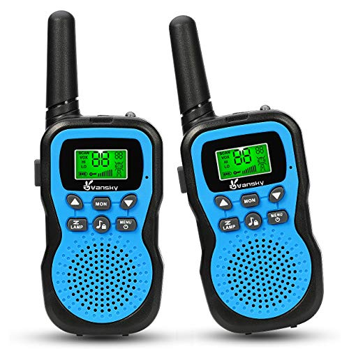 Walkie Talkies For Kids, Vansky 22 Channel 2 Way Radio Long Range Built-In Flashlight Boys Toy Best Gifts for Games, Outdoor Adventure, Camping, Hiking & More (Blue, 2 Pack)