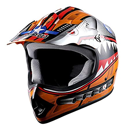 WOW Youth Kids Motocross BMX MX ATV Dirt Bike Helmet Spider Web Blue