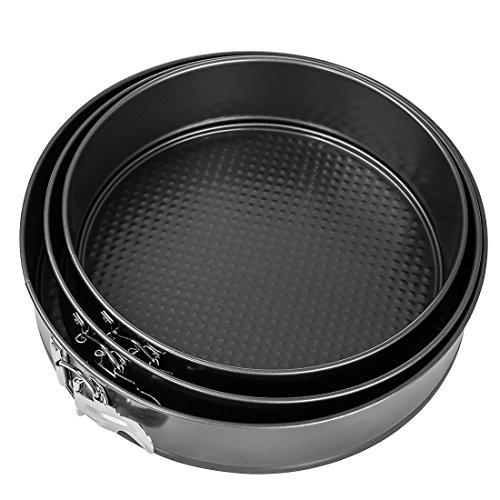 Springform Cake Pan, BOJIN 3Pcs Non-stick Cheesecake Pan Leakproof Interlocking Carbon Cake Baking Tin Set Bakeware Pans