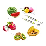 heaven2017 Fruit Melon Carving Spoon Stainless Steel Baller Digging Tools (Random Color)