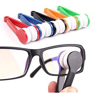 Heyuni. Mini Sun Glasses Eyeglass Microfiber Spectacles Cleaner Soft Brush Cleaning Tool Mini Microfiber Glasses Eyeglasses Cleaner Cleaning Clip (Random Color)