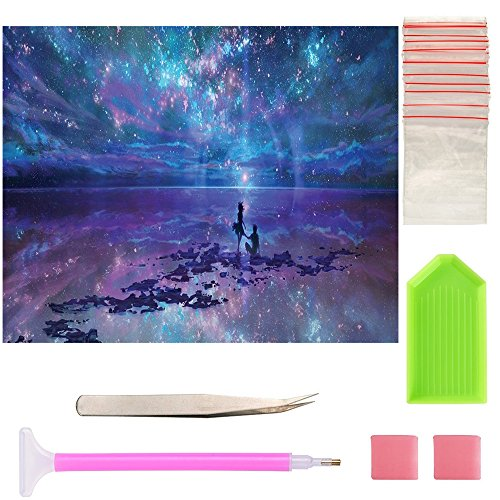 5D DIY Diamond Painting, By Number Kits Crafts & Sewing Cross Stitch, Universe Canvas Painting Full Drill DIY kit, Wall Stickers for Living Room Decoration 16X12inch/40X30CM (#2) (Diamond Bead Frame)