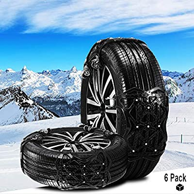 Cadenas de Nieve para Autom/óviles Universales Cadenas de Neum/áticos 6 Piezas Antideslizante Universal para Neum/áticos Ancho 165-285 mm (Negro)