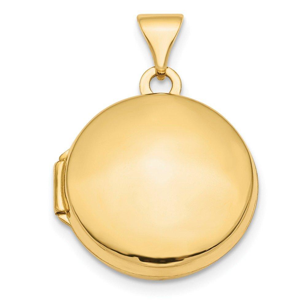 14K Gold Polished Domed Round Locket Charm Pendant
