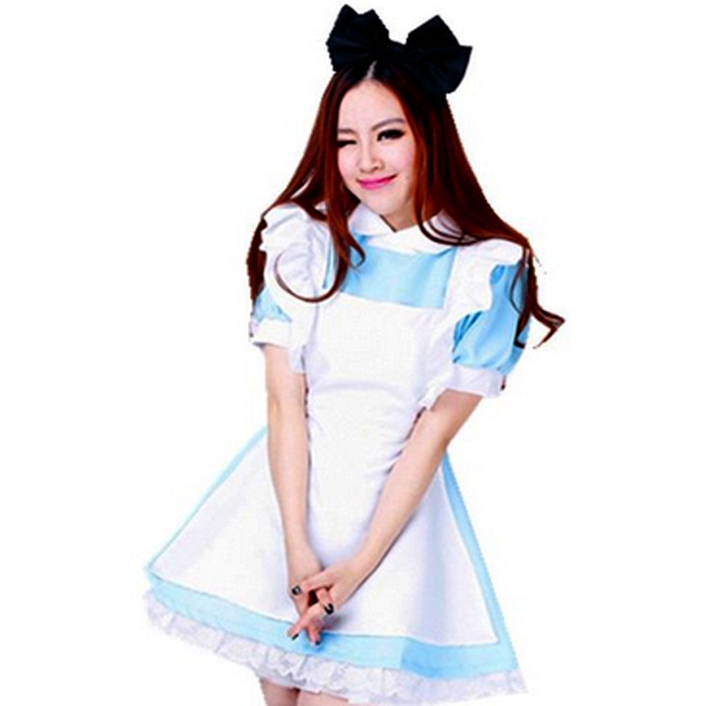 Colorful House Women's Cosplay Outfit Blue Dress Maid Fancy Dress Costume (Medium, Blue (with Petticoat)) by Colorful House (Image #3)