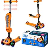 Scooter For Kids with Folding Seat – 2-in-1 Adjustable 3 Wheel Kick Scooter for Toddlers Girls & Boys – Fun Outdoor Toys for Kids Fitness, Outside Games, Kid Activities – Boy & Girl Toys (Orange)