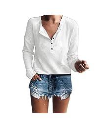 Theshy Women's Casual Long Sleeve Henley Shirt Rib Knit Blouse Button Tunic Tops