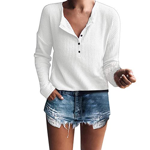 LISTHA Henley Long Sleeve Tops Women Rib Knit Blouse Button Casual Tunic T Shirt