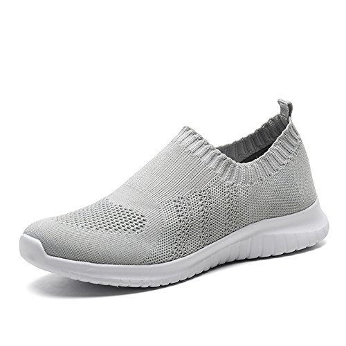 KONHILL Women's Lightweight Casual Walking Athletic Shoes Breathable Mesh Running Slip-On Sneakers, L.Gray, (Womens Walking Shoes)