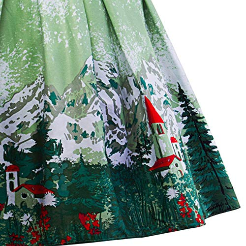 Verde Fiori Alta Vintage Stampate Vita A A Gonne Da Donna line Longuette Scholieben Pieghettate wT7OY