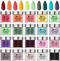 Acrylic Nail Powder Nail Dip Powder 20 Colors 0.34oz Each Jar Nail Dip Powder System Dipping Powder Starter Kit for...