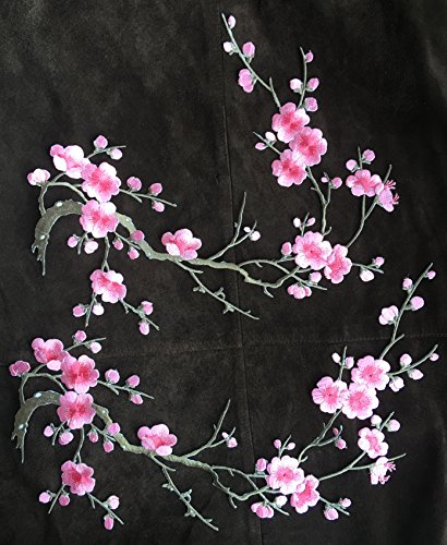 Two Asian Cherry Blossom Sakura Flower Iron on Embroidered Appliques Patch Embroidered Lace Fabric Ribbon Trim Neckline Collar Applique Patch Scrapbooking Embossed Decorated (Pink)