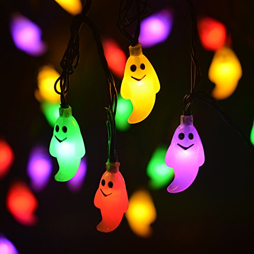 LEVIITEC Solar Halloween Decorations String Lights, 30 LED Waterproof Cute Ghost LED Holiday Lights for Outdoor Decor, 8 Modes Steady/Flickering Lights [Light Sensor] 19.7ft Multicolor]()