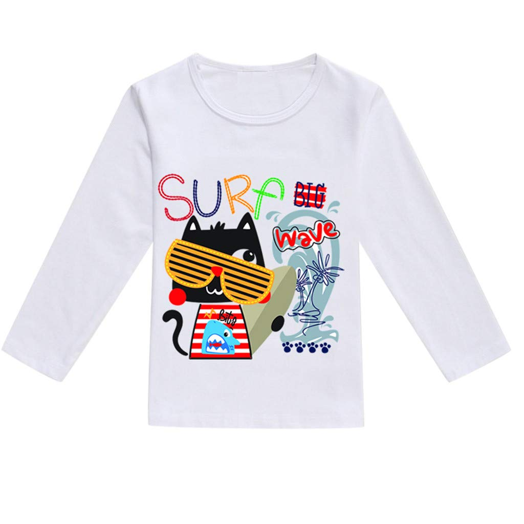 NUWFOR Toddler Baby Kids Boys Girls Spring Cartoon Print Tops T-Shirt Casual Clothes(Multicolor,18-24 Months)