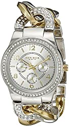 Akribos XXIV Women's AK558TTG Multifunction Quartz Movement Watch with Silver Dial and Two Tone with Crystals Bracelet