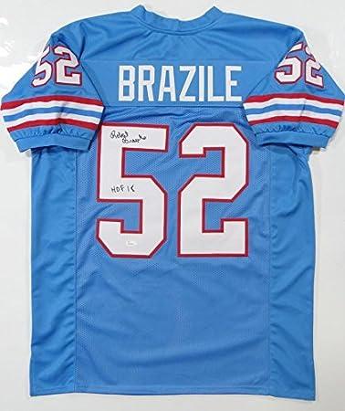648363221 Autographed Robert Brazile Jersey - Blue Pro Style w HOF W  5 - JSA  Certified