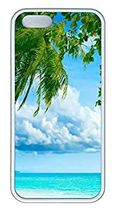 iPhone 5 5S Case Tropical Paradise Beach And Palm Tree TPU Custom iPhone 5 5S Case Cover White