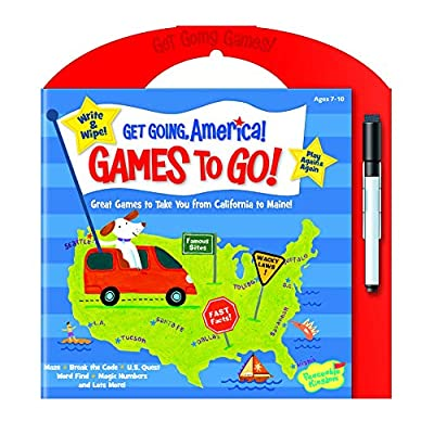 Peaceable Kingdom Get Going, America Write and Wipe Games to Go! Activity Book: Toys & Games