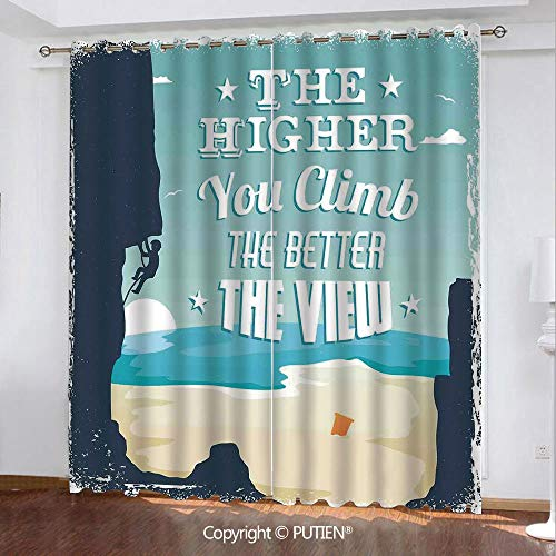 Satin Grommet Window Curtains Drapes [ Quote,The Higher You Climb the Better the View Seashore and Mountain Climber Image Print,Blue Beige ] Window Curtain for Living Room Bedroom Dorm Room Classroom