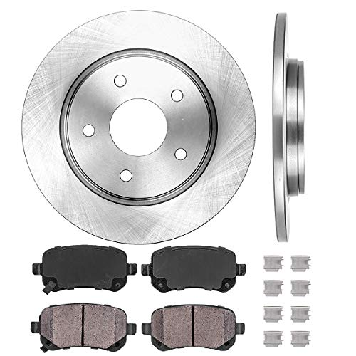 REAR 305 mm Premium OE 5 Lug [2] Brake Disc Rotors + [4] Ceramic Brake Pads + Clips