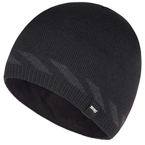 Bodvera Winter Warm Knitting Beanie Watch Cap Fleece Lined Plain Toboggan Ski Skull Hats Caps, Black