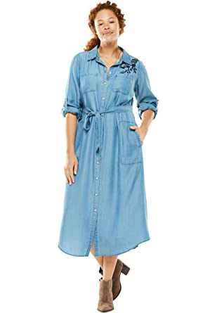 Womens Plus Size Denim Shirt Dress At Amazon Womens Clothing Store